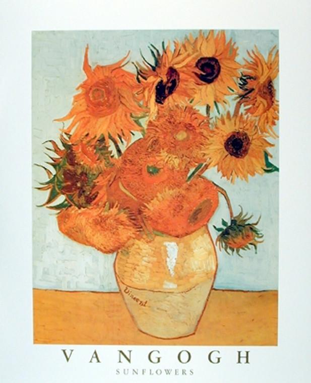 Sunflowers in Vase Vincent Van Gogh Wall Decor Floral Fine Art Print Poster (16x20)
