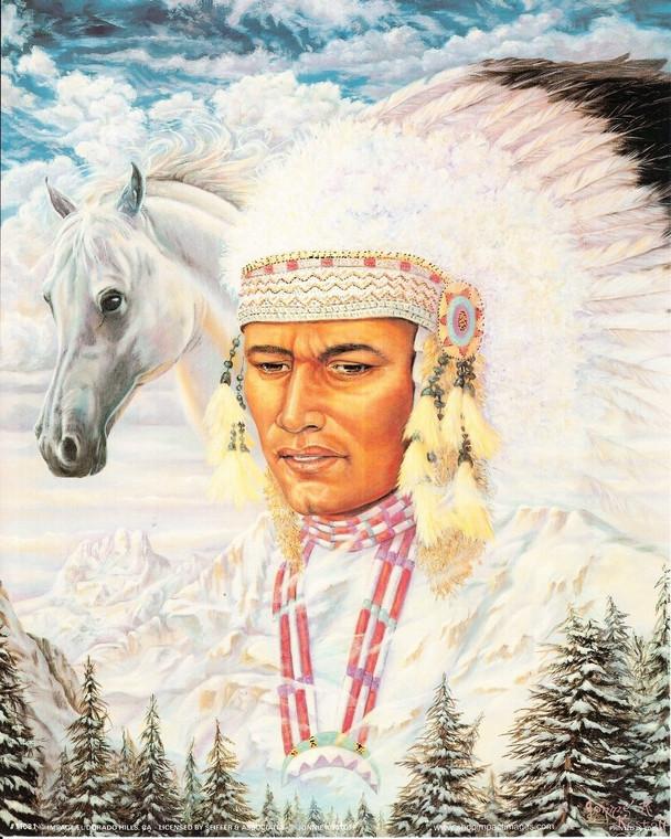 Native American Art Print Poster Golden Retreiver (16x20)