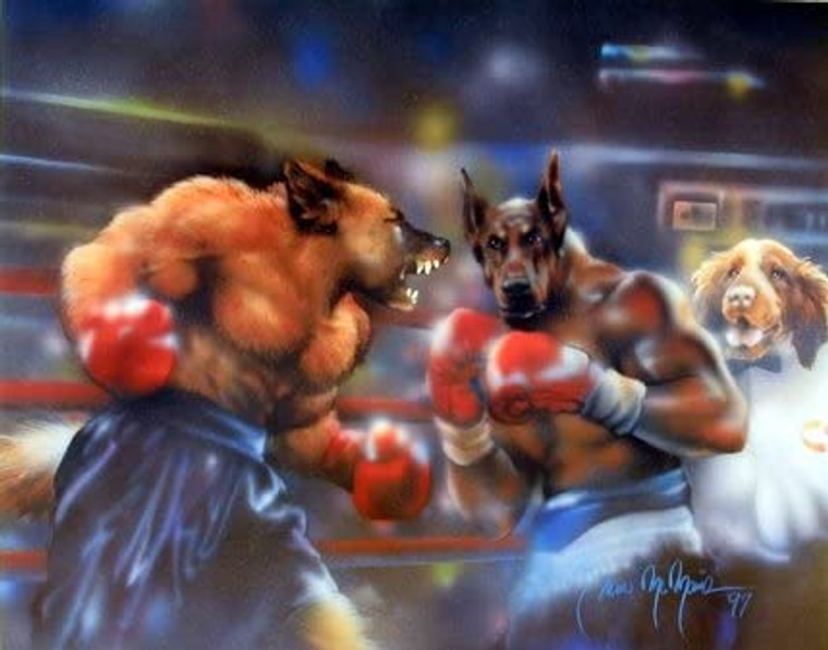 Funny Dogs Boxing Kids Room Animal Wall Decor Art Print Picture (8x10)