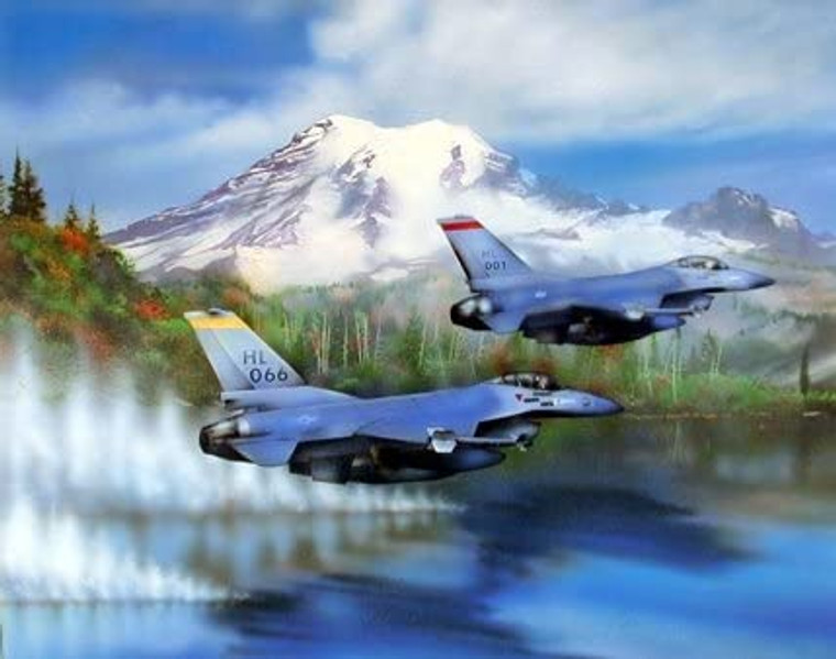 F-16s Military Jet Fighter Aircraft Over Water Aviation Wall Decor Art Print Picture (8x10)