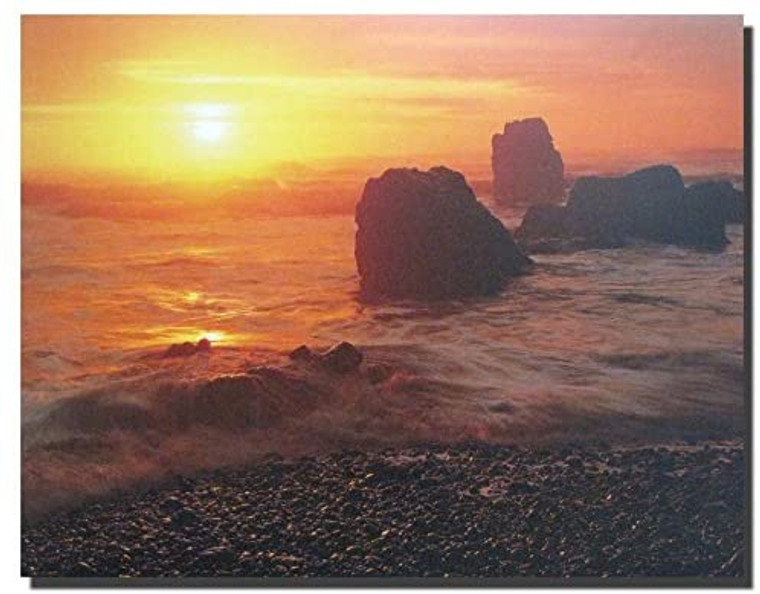 Sunset At Ecola State Park Beach Oregon Scenery Wall Decor Art Print Poster (8x10)