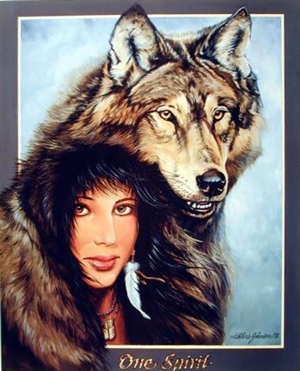 Native American Art Print Poster Indian Maiden and Wolf (8x10)