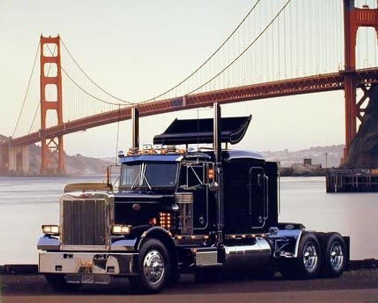 Peterbilt Semi Big Rig Transportation Truck at Golden Gate Bridge San Francisco Wall Decor Art Print Poster (8x10)