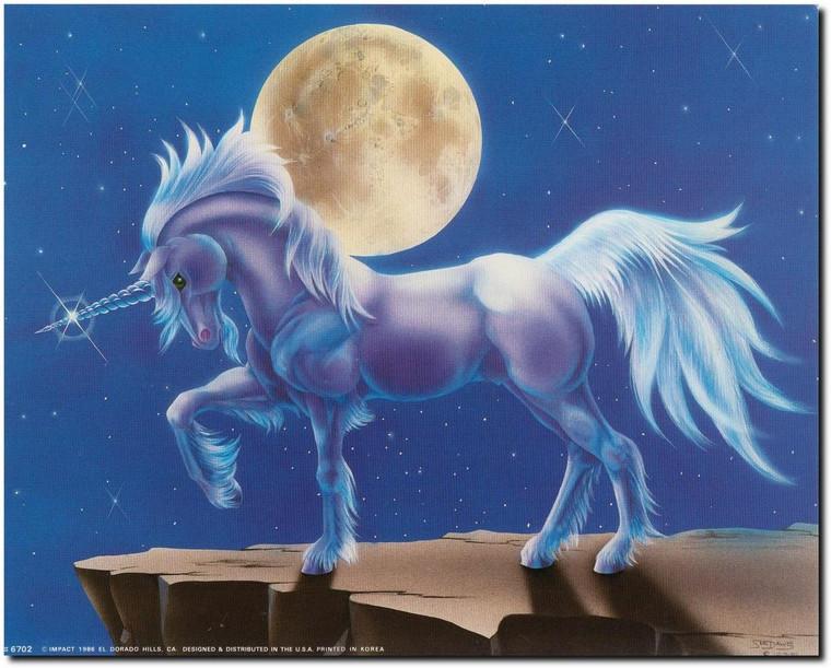 Unicorn Mythical Crystal Horn Full Moon Fantasy Horse Wall Decor Art Print Picture (8x10)