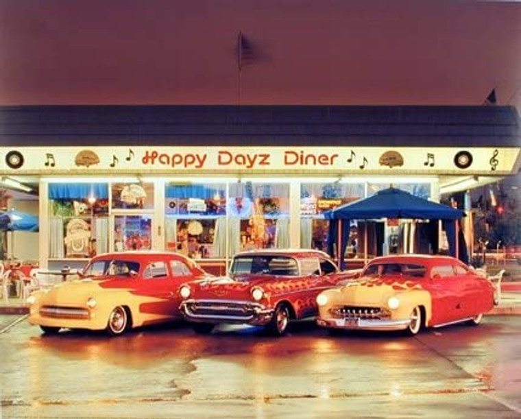 Happy Dayz Diner 57 Chevy Bel Air 50's Mercury Car Wall Picture Art Print (8x10)