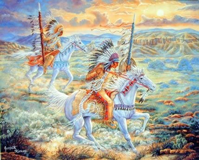 Native American Warriors Horse At Sunset Wall Picture Art Print (8x10)