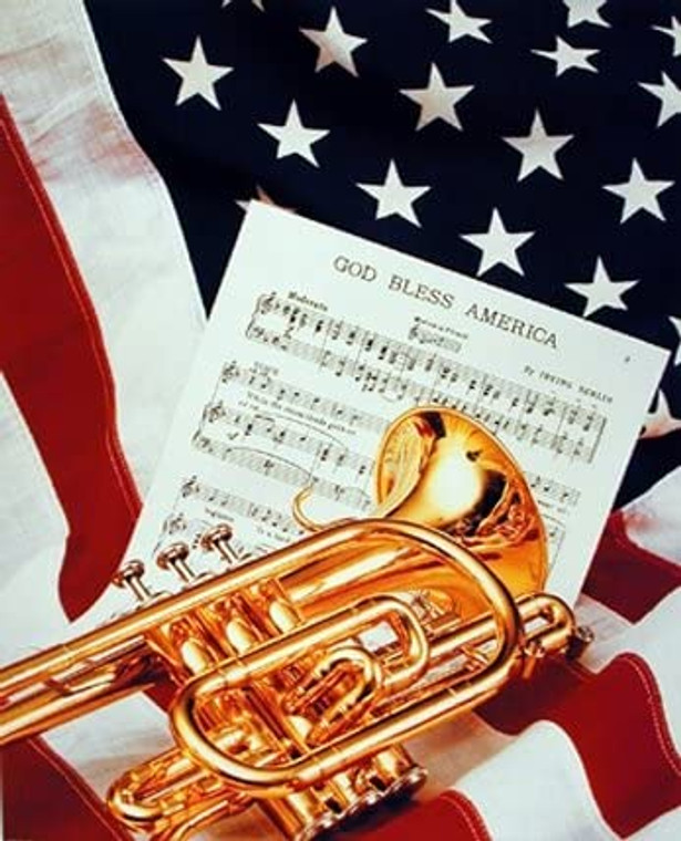 God Bless America Trumpet & Music Sheet Lying on Flag Patriotic Wall Decor Art Print Picture (8x10)