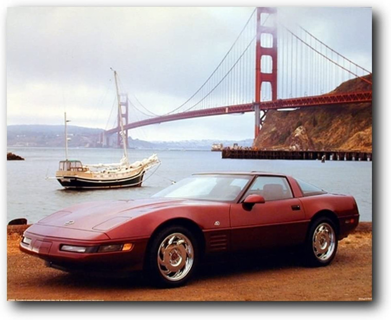 Vintage Corvette Classic Car At San Francisco Golden Gate Bridge Wall Decor Picture Art Print (8x10)