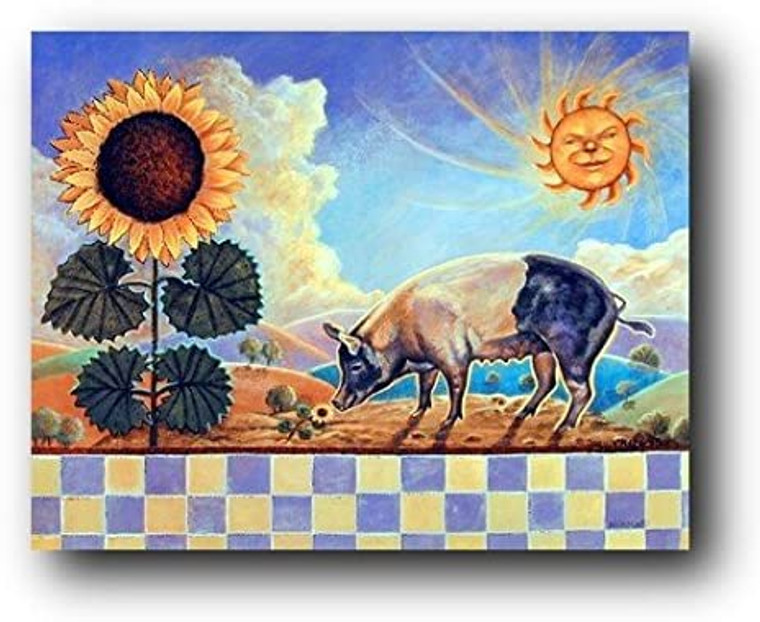 Country Pig Sunflower and Sun Wall Decor Art Print Poster (8x10)
