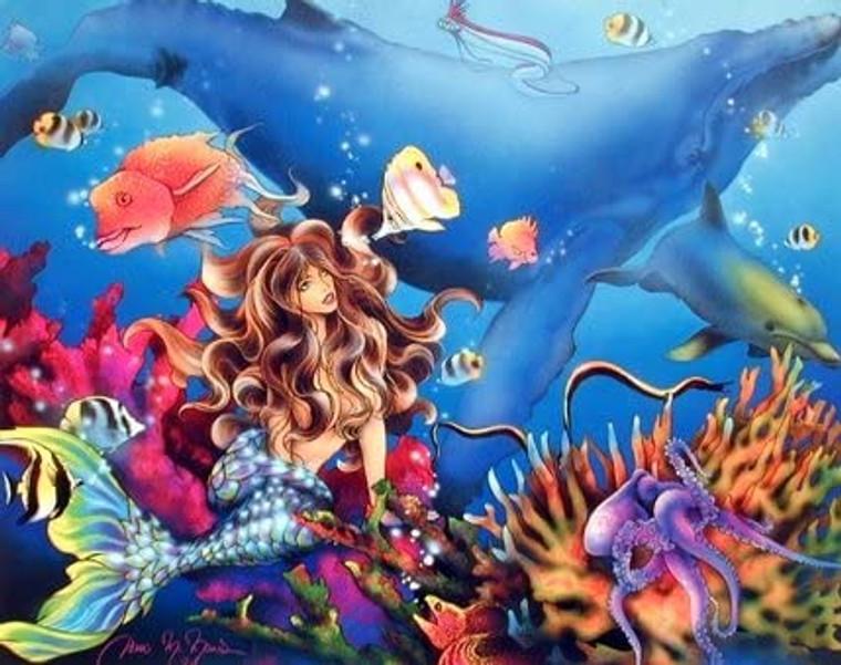 Mermaid & Whale Sci Fi Fantasy Ocean Underwater Coral Reef Wall Decor Picture Art Print (8x10)