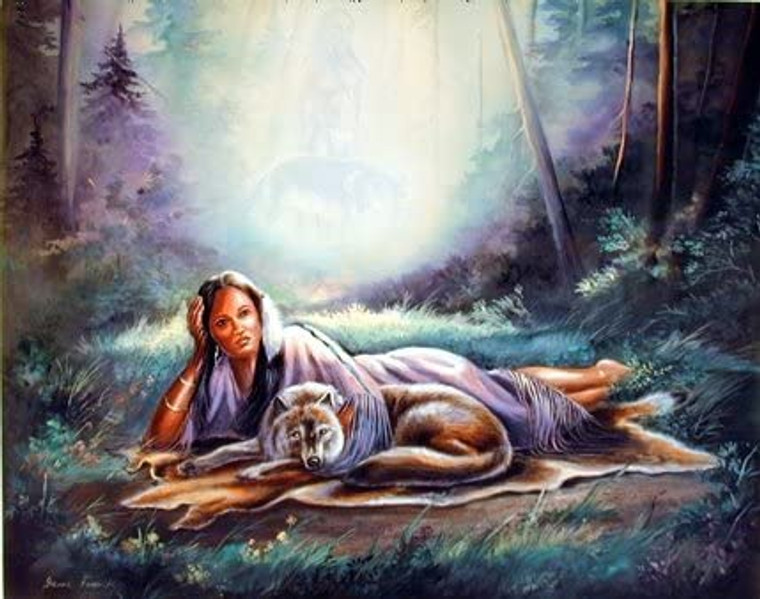 Native American Wolf Daydream Wall Decor Art Print Picture (8x10)