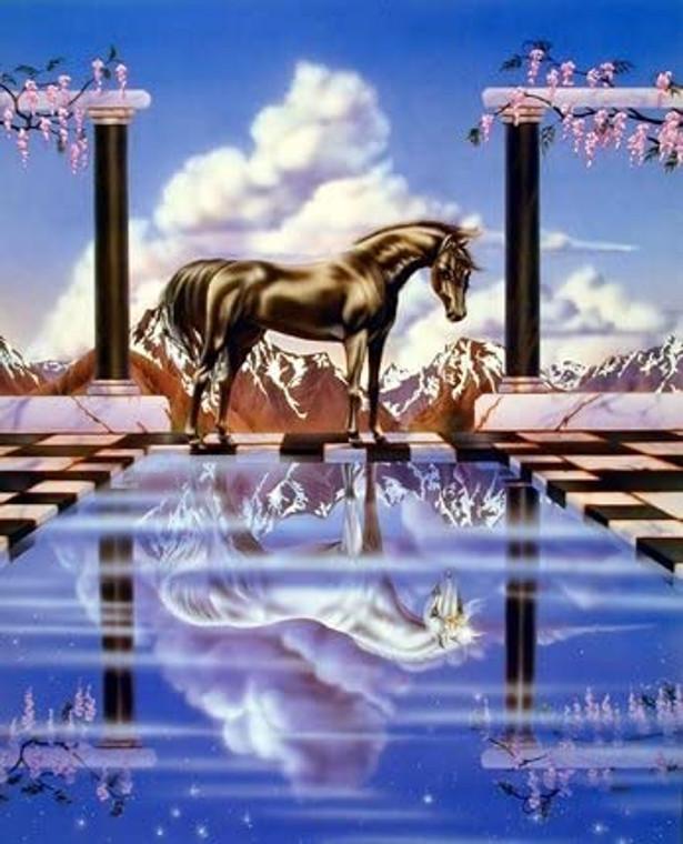Unicorn Horse the Reflecting Pool Sue Dawe Wall Decor Picture Art Print (8x10)