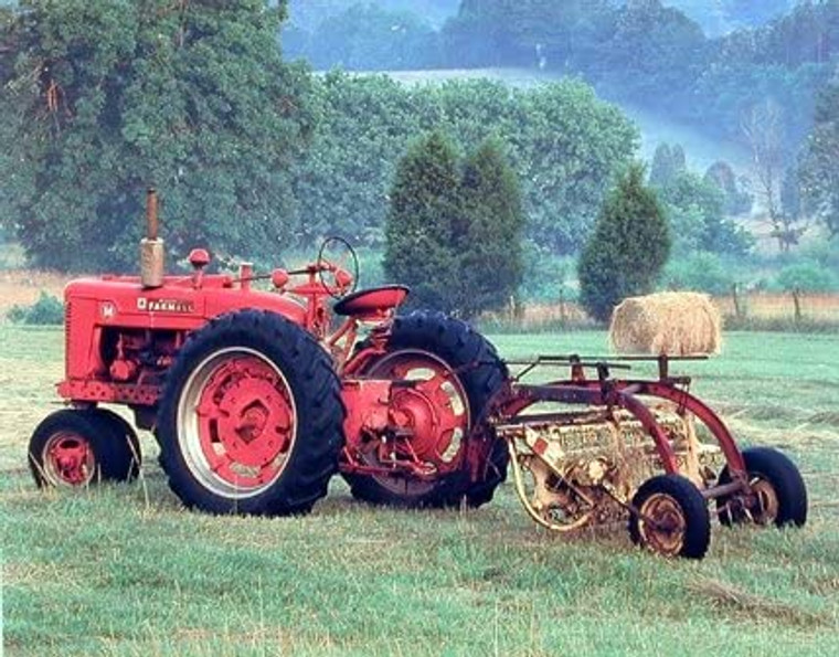 Red Farmall M Vintage Farm Tractor Wall Decor Art Print Picture (8x10)