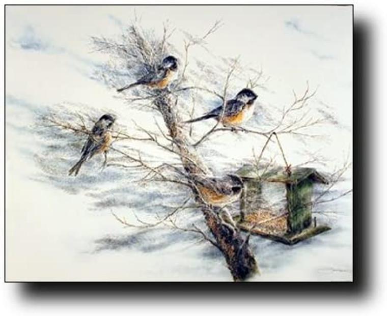 Chickadee Birds House on Tree Animal Wall Decor Picture Art Print (8x10)