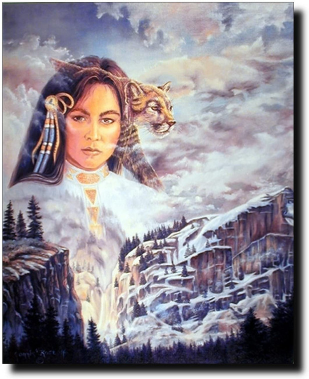 Native American Indian Princess and Mountain Lion Fine Wall Decor Picture Art Print (8x10)