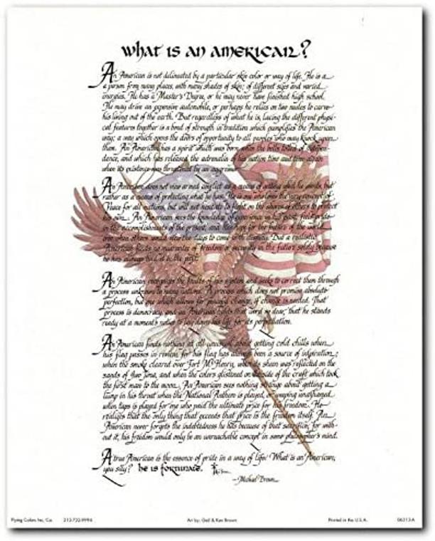"""What Is an American"" Motivational & Inspirational Wall Decor Art Print Poster (8x10)"