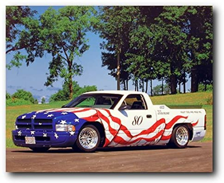 American Flag Dodge Harley Vintage Pickup Truck Wall Decor Picture Art Print (16x20)