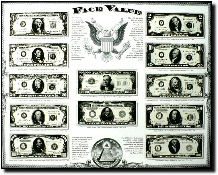 Old US Currency Money Dollar Bills Wall Decor Picture Art Print (16x20)