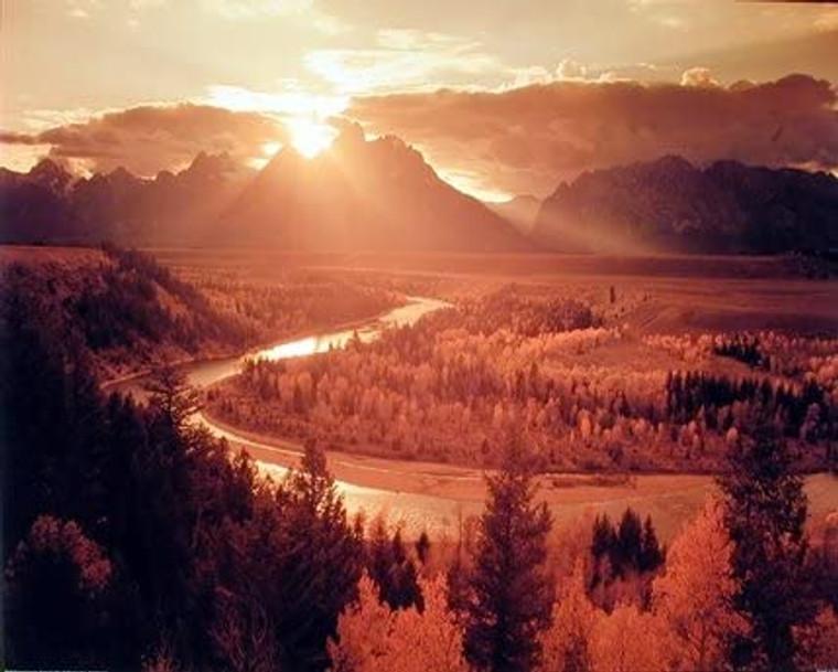 Teton and Snake River Setting Sun Scenery Wall Decor Art Print Poster (16x20)