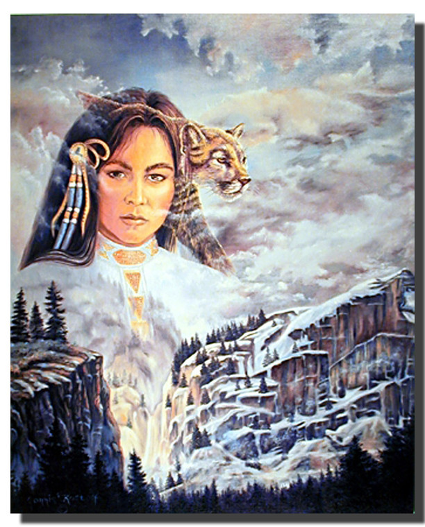 Indian Princess and Mountain Lion Posters