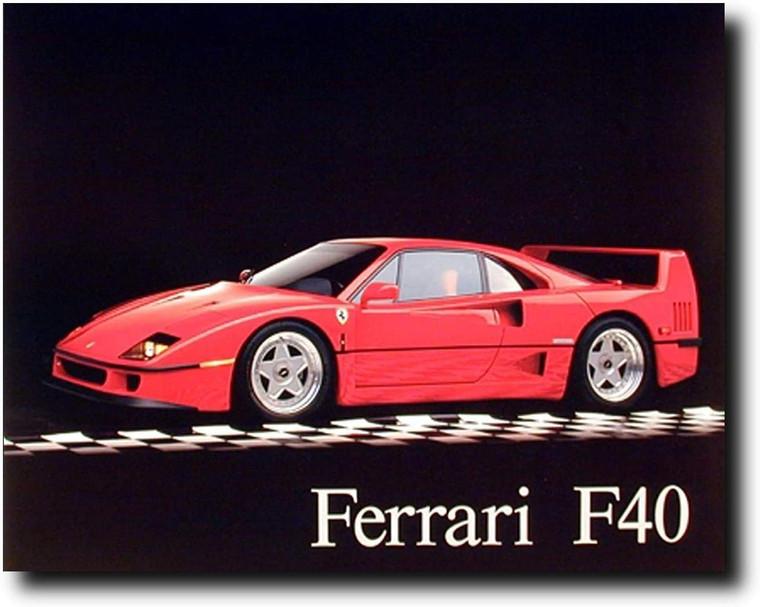 Ferrari F40 Automobile Sports Classic Auto Car Wall Art Print Poster (16x20)