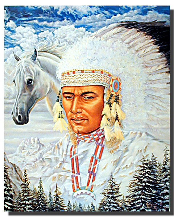 Indian Chief and Horse Posters