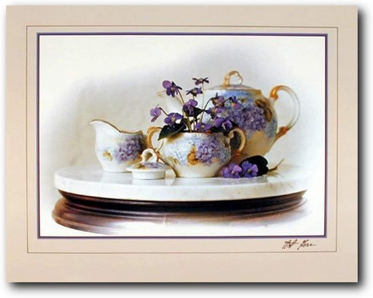 Country Violets Flowers & Tea Pot Still Life Fine Wall Decor Picture Art Print (16x20)