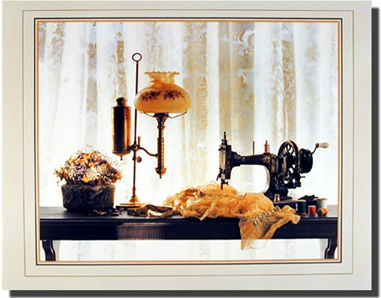 Country Sewing & Old Lamp Still Life Wall Decor Art Print Poster (16x20)