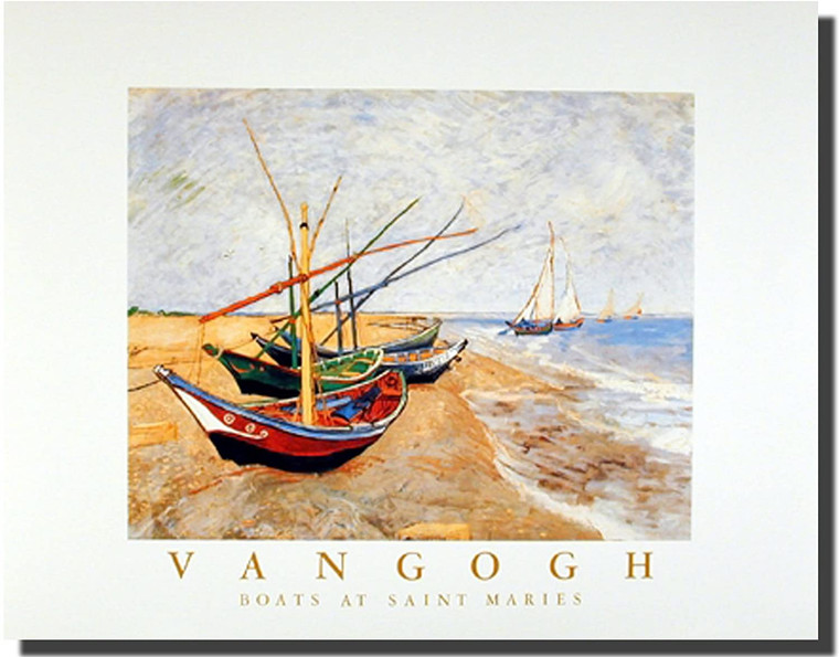 Vincent Van Gogh (Fishing Boats on the Beach At Saint Maries) Wall Decor Art Print Picture (16x20)
