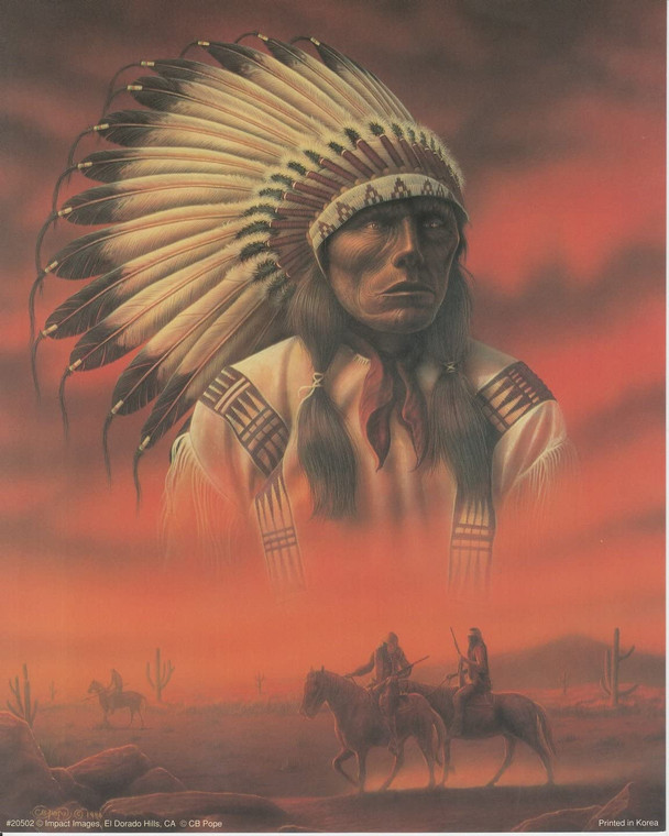 Native American Indian Chief Joseph with Riders Wall Decor Art Print Picture (16x20)