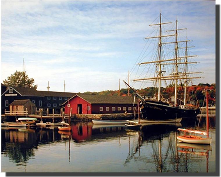Mystic Seaport and Sailing Vessel Sailboats Picture Wall Decor Art Print (16x20)