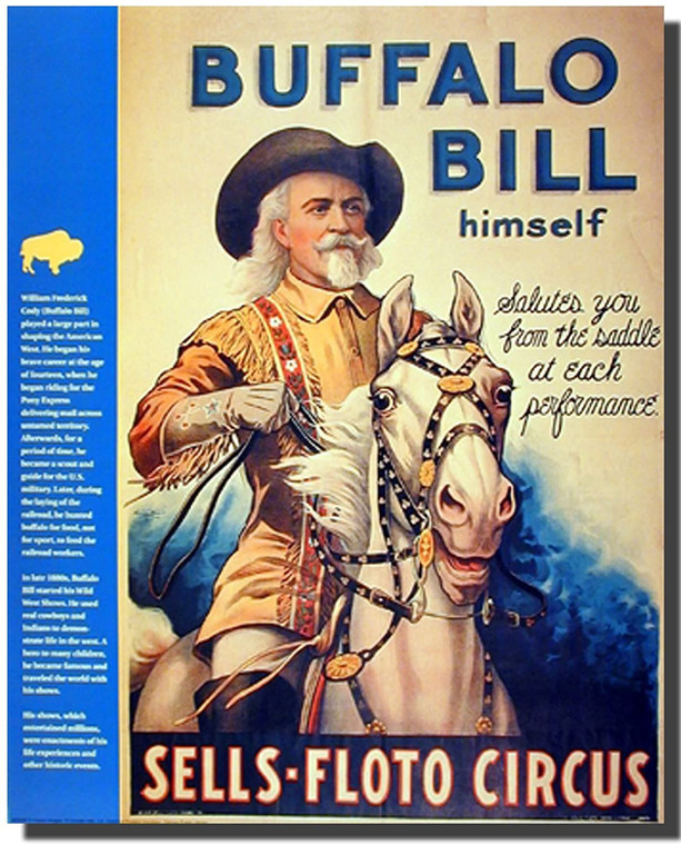 Wild West Show Buffalo Bill Western Cowboy Wall Decor Picture Art Print (16x20)