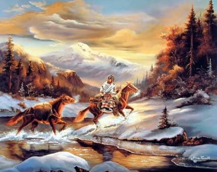 Western Cowboy Crossing The Stream Gina Femrite Bedroom Wall Decor Art Print Poster (16x20)