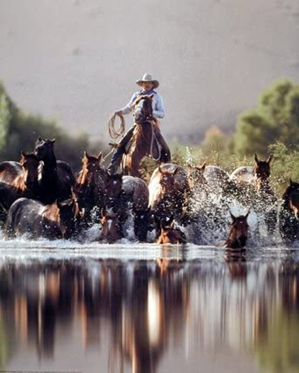 Cowboy Roundup Horses Old West David Stoecklein Western Wall Decor Picture Art Print (16x20)