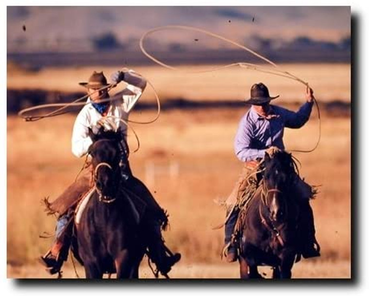 Western Wall Decor Rodeo Cowboy Roundup Horse at Pacabo Picture Art Print Poster (16x20)