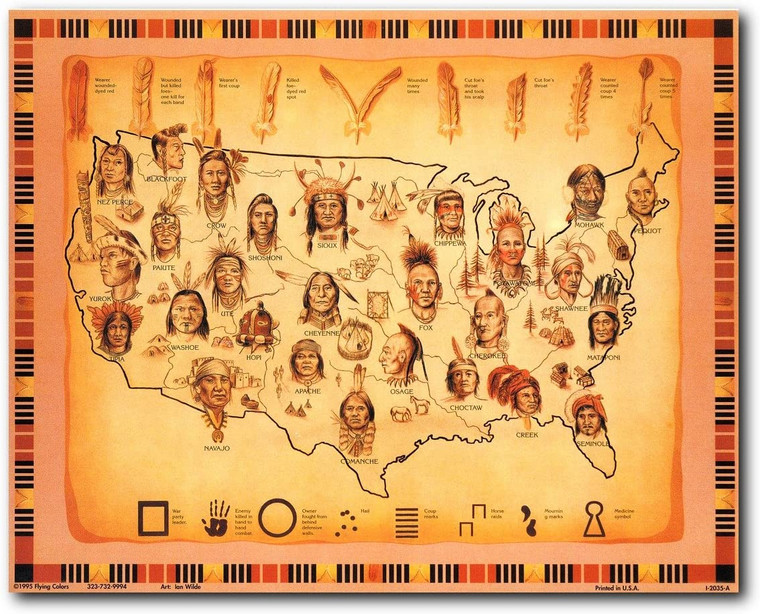 Vintage Map Of Native American Tribes Wall Decor Art Print Poster (16x20)