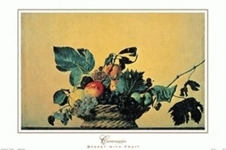 Grapes and Apple Basket Wall Decor Fruit Still Life Kitchen Art Print Poster (16x20)