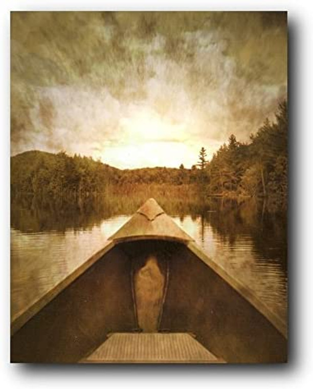Wall Decor Fishing Boat River Side Clouds Scenery Art Print Poster (16x20)