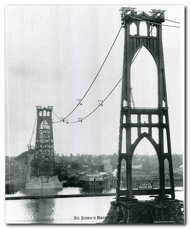 St. John's Roebling bridge Vintage Portland Wall Decor Art Print Poster (16x20)