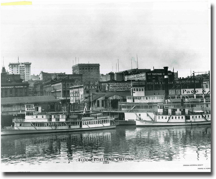 Vintage Flood, Portland, Oregon 1880 Old City Black And White Wall Decor Art Print Poster (16x20)