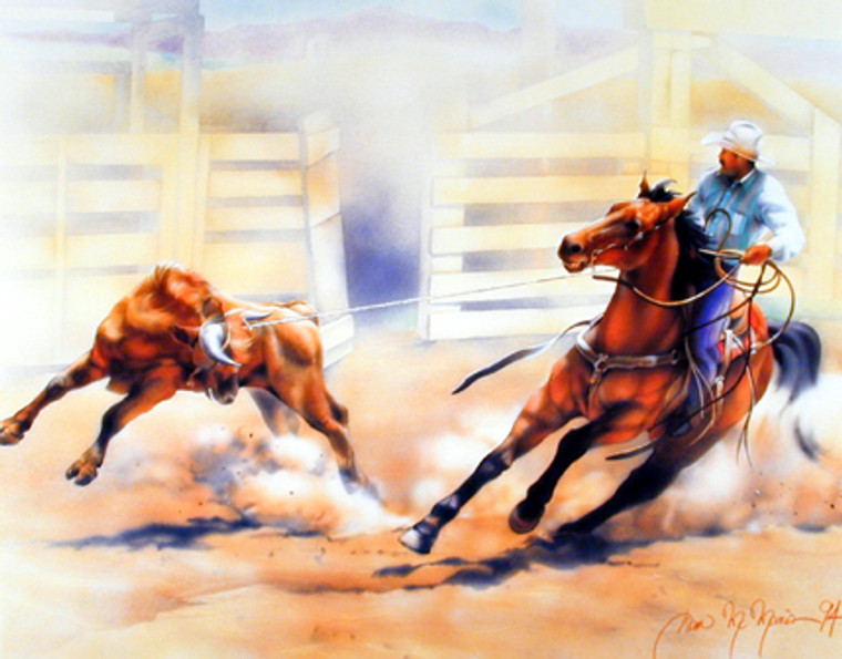 Western Cowboy Wall Decor Rodeo Picture Calf Roping Horse Art Print Poster (16x20)