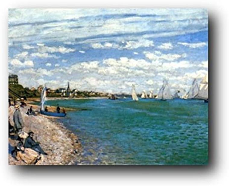 Claude Monet Beach At Sainte Adresse Art Print Poster (24x36)