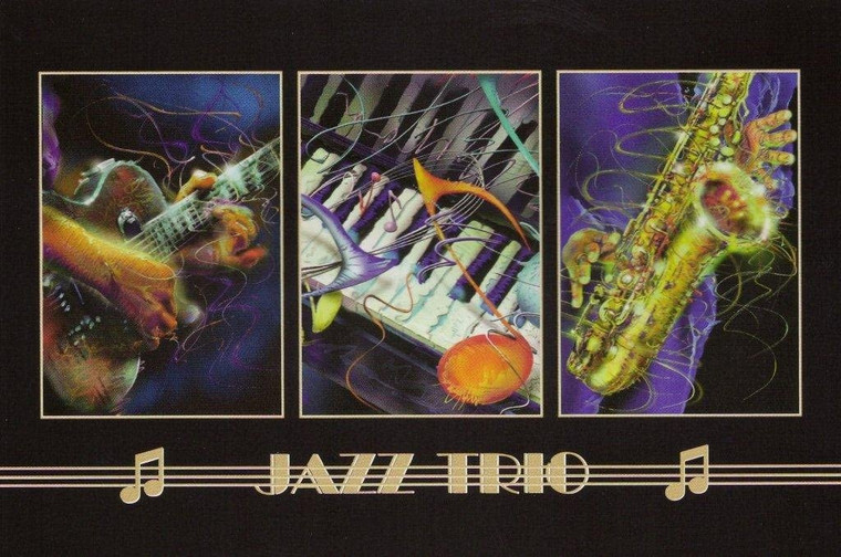 Wall Decor Jazz Trio Piano, Trumpet And Guitar Musical Instrument Art Print Poster (24x36)