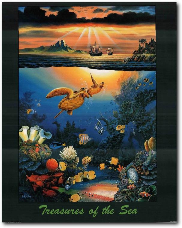 Wall Decoration Treasures of The Sea Ocean Underwater Animal Art Print Poster (22x28)