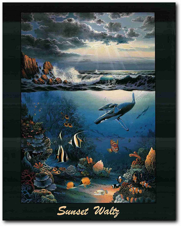 Picture Wall Decor Ocean Sunset Underwater Coral Fish Art Print Poster (22x28)