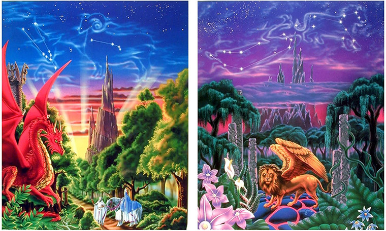 Wall Decor - Mythical Dragon And Lion Mountain Valley Sue Dawe Fantasy Kids Room Picture 16x20 Two Set Art Print Poster