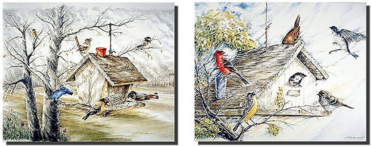 Birds Wall Decor Art Print Poster Bluebirds At Birdhouse Two Set Picture (16x20)
