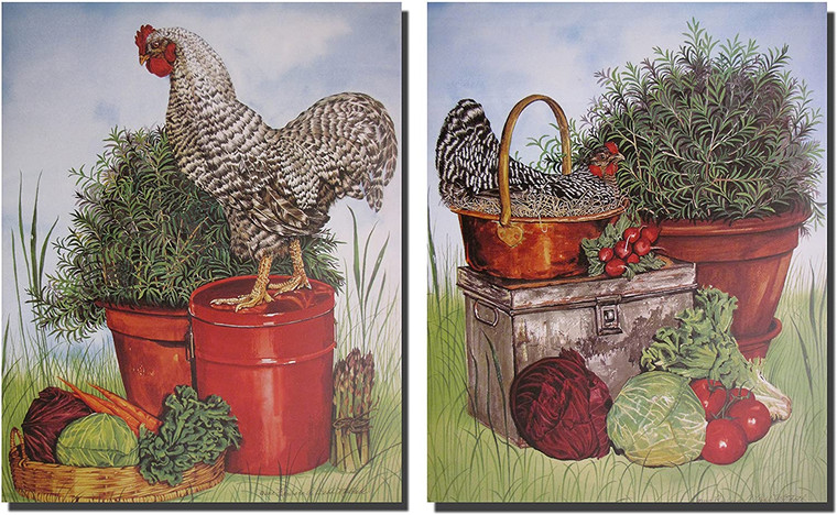 Chicken Rooster Wall Decor Picture Kitchen Two Set Art Print Poster (16x20)