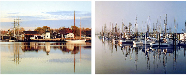Peaceful Harbor Fishing Boats in Newport Wall Decor Oregon Scenery Picture 16x20 Two Set Nature Art Print Poster