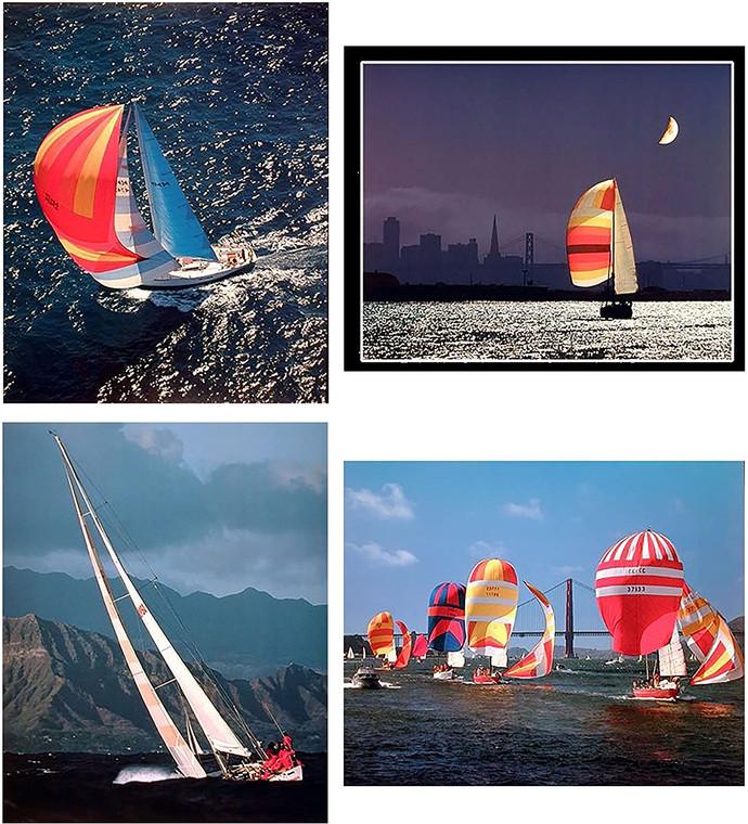 Wall Decoration - Night Sailing San Francisco City Boat 16x20 Four Set Art Print Poster
